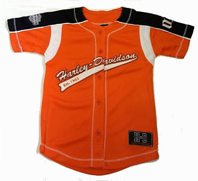 low priced d0fed 15cd1 Harley-Davidson Boys Baseball Jersey Shirt - Kids Harley Clothes, Orange    eBay