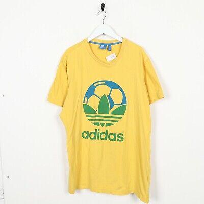 Vintage adidas Originaux Grand Football Logo T Shirt Jaune Vert XL | eBay