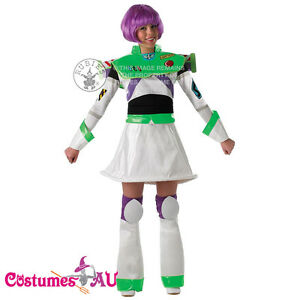 Ladies-Buzz-Lightyear-Costume-With-Wig-Fancy-Dress-Disney-Toy-Story-Delux-Outfit
