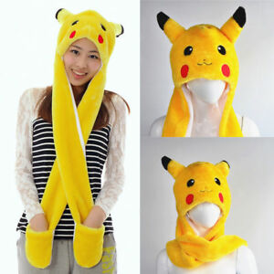 Pikachu Pokemon Go Hat and Scarf Gloves Set Plush Beanie Caps Kids ... f6a235e028a