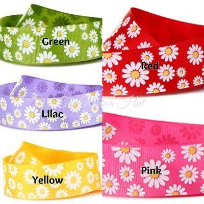 "1/""inch 25mm 3 Metres Grosgrain Daisy Flower Print Ribbon 5 Colours"