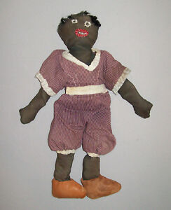 Vtg-Ca-1930s-Folk-Art-Black-Sateen-Cloth-Rag-Doll-Antique-14-034-Nice-Orig-Clothing