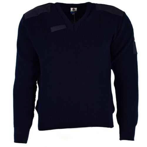 Original Dutch army pullover Commando Jumper dark blue V-neck sweater wool NEW