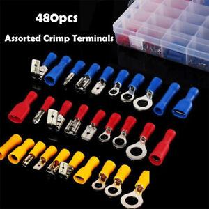 480pcs-Anelli-Spade-Isolato-Crimpare-Connettore-Terminale-Connettori-Elettrico
