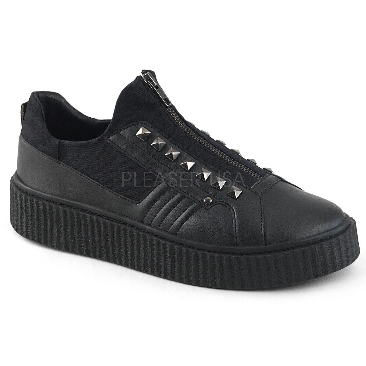 Demonia 1.5  nero Canvas Studded Zipper Low Top Creeper scarpe da ginnastica scarpe 4-13
