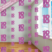 18th BIRTHDAY PARTY SUPPLIES PK 6 GLITZ PINK DANGLING HANGING DECORATIONS