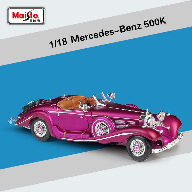 VINTAGE Collection 1 18 MercedesBenz 500 K Viola in Lega Diecast Auto modellolo giocattoli
