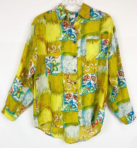 Robert Stock Vintage 90s 100% Silk Shirt Women's S