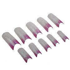 Pink White Glitter Acrylic False Nail Art Tips LW