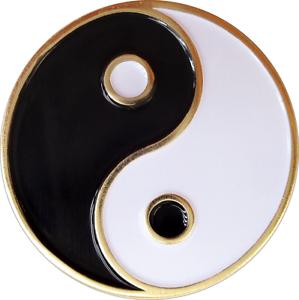 3964 Noir Blanc Yin Yang Symbole Taoïste Taoïsme Chinois Émail Broche Bouton revers