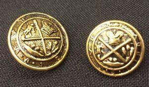 Gold-Antiqued-Button-Set-w-Crest-Set-of-12-4-Jacket-3-4-034-8-Sleeve-5-8-034
