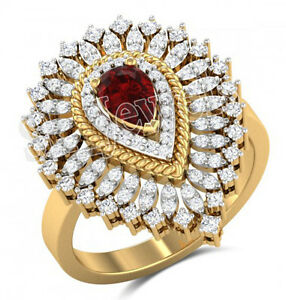 1-50ct-NATURAL-ROUND-DIAMOND-RUBY-GEMSTONE-14K-YELLOW-GOLD-COCKTAIL-RING-SIZE-7