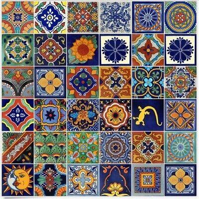 Mexican Talavera Ceramic Tiles Handpainted Unique Mixed Selection 2x2 4x4 6x6