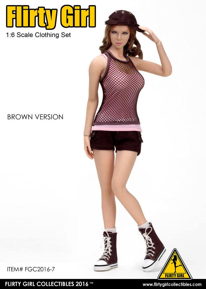 1 6 Flirty Girl's Figure Combat Short Fashion Clothing Set in braun FGC-2016-7