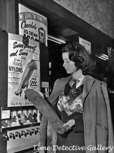 Vintage Photo Print Woman Buying Stockings from a Vending Machine 1950s