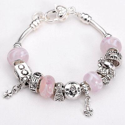 XMAS European Murano Glass Beads sterling solid Silver charm Bracelet XB084 +box