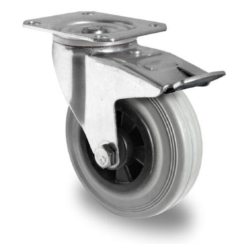 Satz Transportgeräterollen Gummi grau 200 Platte Bockrolle Lenkrolle Bremse