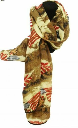 """Details about  /VOILE SCARF with AMERICAN FLAG /& RUNNING HORSE Oversized Soft 64/"""" X 34/"""""""
