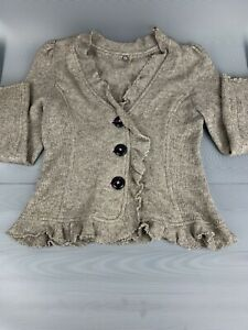 One Girl Who Crochet Sweater Beige Color Women's size L with 3 Front Buttons