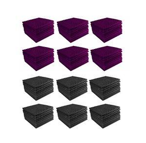 Acoustic-Foam-96-pack-Purple-Charcoal-Gray-Pyramid-Studio-12x12x1-tiles