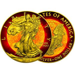 American Eagle Solar Flare 1oz Silver Coin Usa 2016 24k