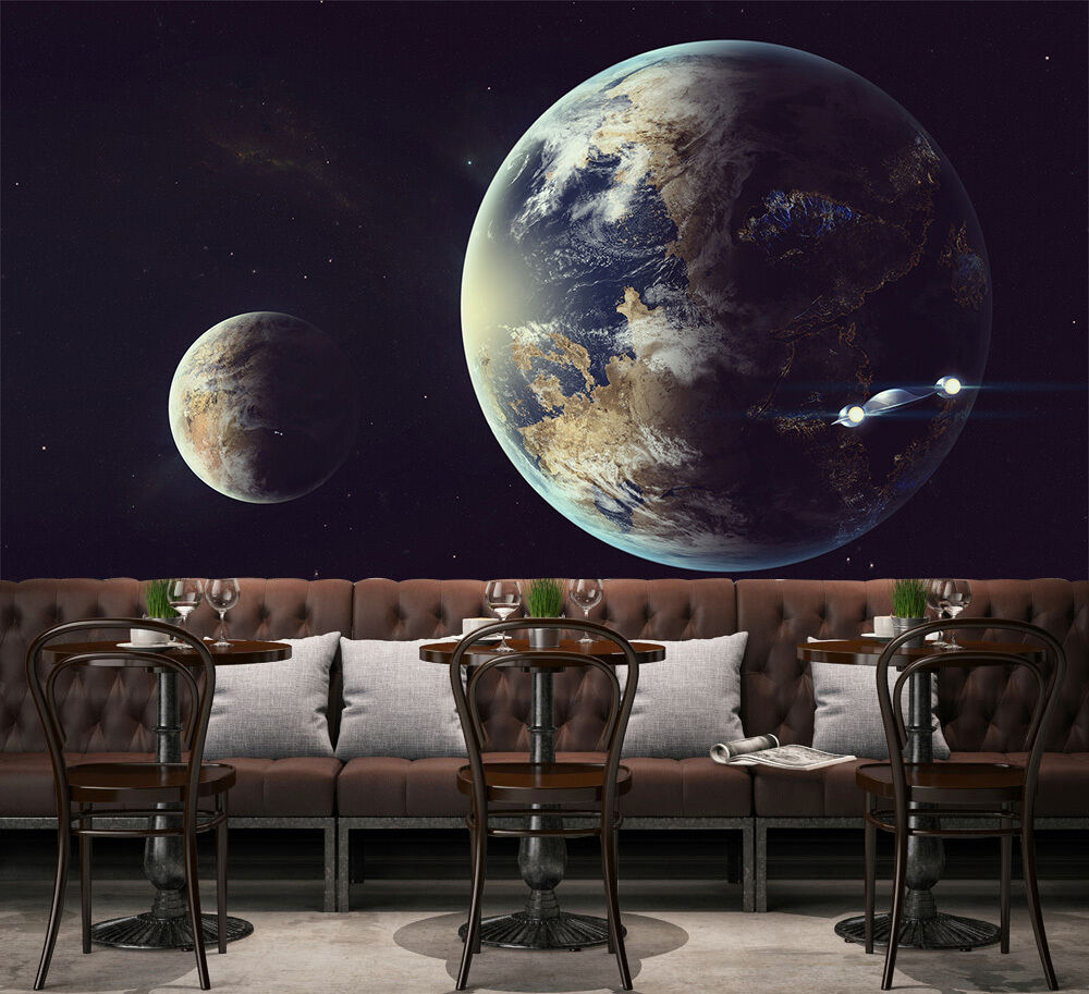 3D Earth Cosmic space Wall Paper Print Decal Wall Deco Indoor wall Mural