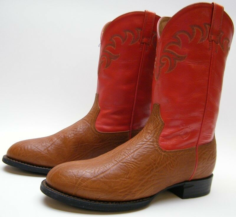 WOMENS ARIAT 14460 BROWN RED SHOULDER LEATHER COWBOY WESTERN BOOTS SZ 9.51 2 B