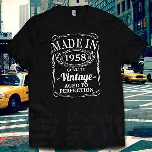 Details About VINTAGE 1958 AGED TO PERFECTION T Shirt 60th BIRTHDAY Gift MADE IN 60 Years Old