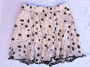 6b46dfc5092 Details about BNWT River Island Size 12 Skirt Polka Dot Cream Black Pompom  Mini Casual Cute