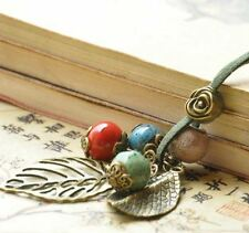 Long Rose Flower, 2 Leaves & 4 Ceramic Bead Fashion Necklace