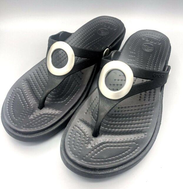 66075706b Crocs Womens US Sz 6 M Black Thong Sandals T Strap Sanrah Slides Shoes