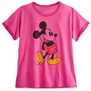 Disney-Tienda-Mickey-Mouse-Rosa-Clasico-Ringer-Camiseta-para-mujer-Talla-XS-Nuevo-con-etiquetas