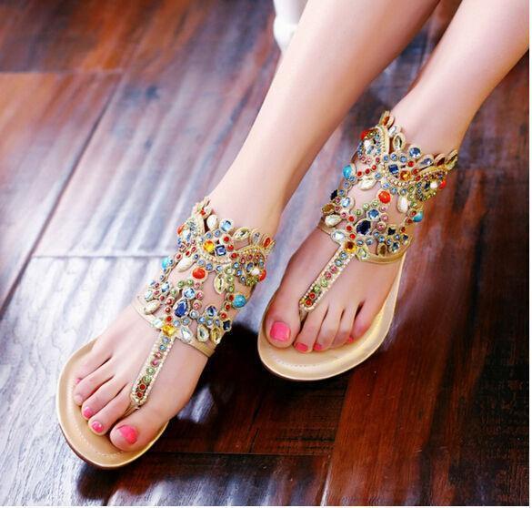 Moda Para mujeres Zapatos Gladiador Sandalias Ojotas Tanga Diamante Diamante Diamante de Imitación Zapatos Romano  disfruta ahorrando 30-50% de descuento