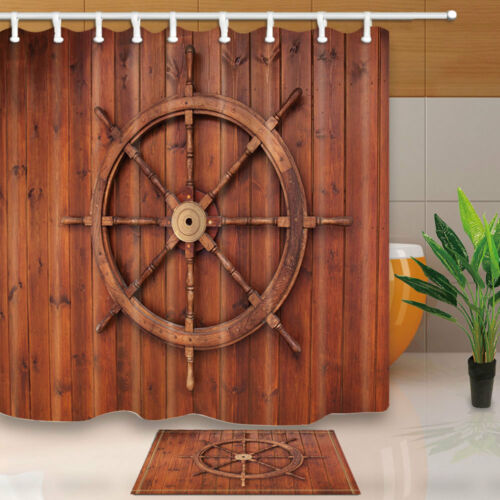 """Nautical Wooden Board And Anchor Bathroom Fabric Shower Curtain With Hooks 71/"""""""