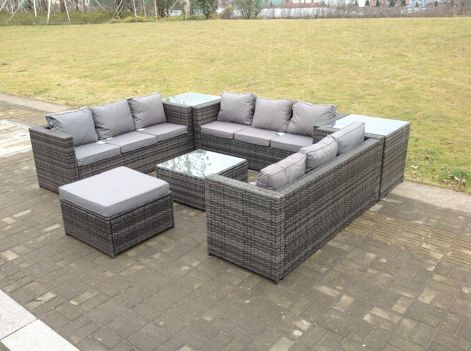 6 seater U shape rattan sofa set table outdoor garden furniture patio grey
