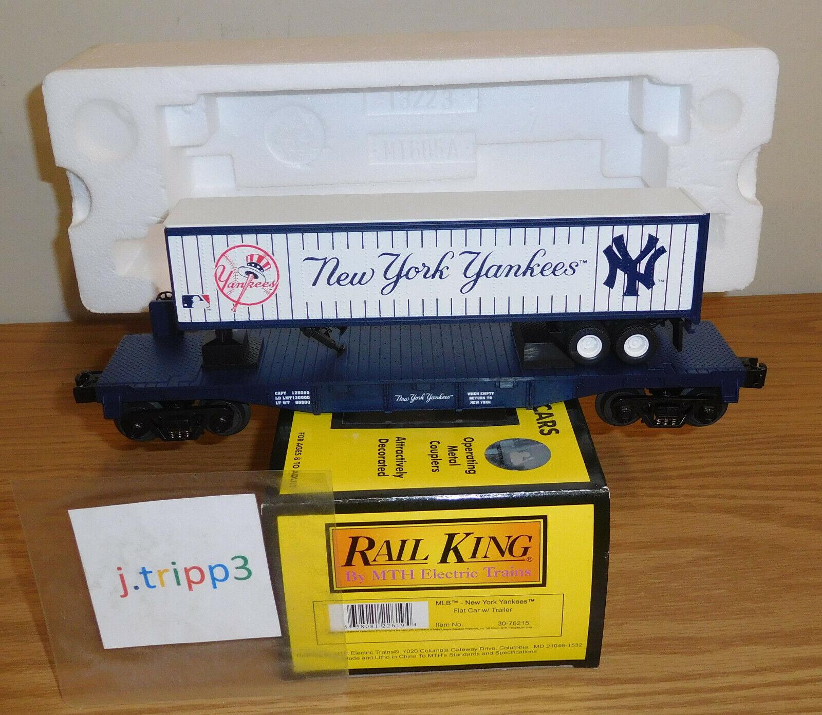 MTH 30-76215 NEW YORK YANKEES BASEBALL FLAT CAR w TRAILER O GAUGE TRAIN RAILKING