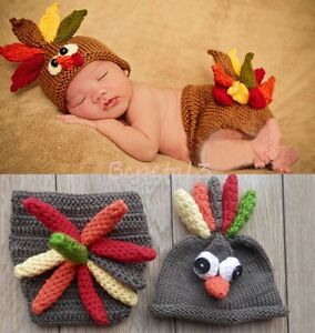 Newborn Baby Boy Girl Crochet Knit Turkey Costume Photography Prop Outfits Ebay