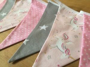 NURSERY PINK UNICORN BUNTING GREY STAR new baby girl modern garland kids pink