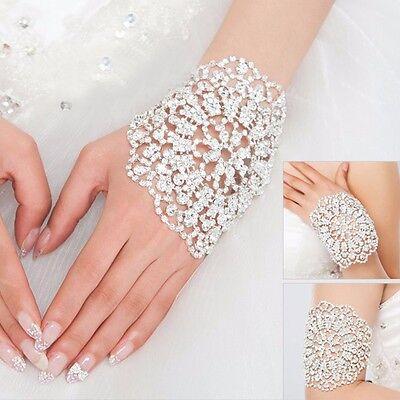 Brides Shining Crystal Bracelet Jewelry Bridal Wedding Party Cuff Bangle Chain