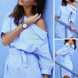 NEW-Fashion-Women-Summer-One-Shoulder-Striped-Side-Split-Half-Sleeve-Shirt-Dress