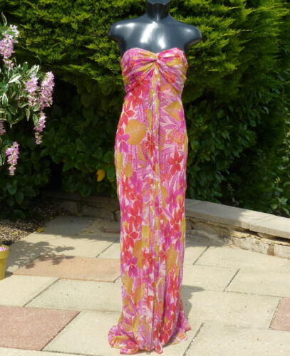 bruiloft 08 Sexy Monsoon Prom jurk Cruise roze zijde Maxi gouden partij 0dqCY