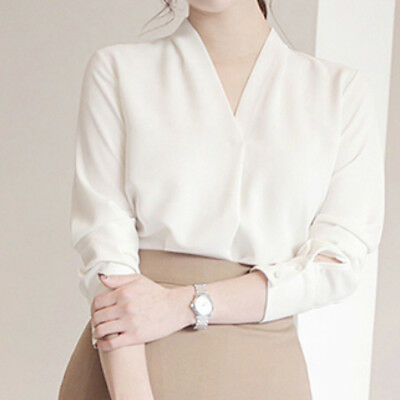 Women Long Sleeve Solid Color Chiffon Shirt Office Lady Casual V-neck Blouse