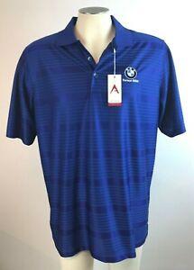 BMW-Polo-Shirt-Mens-Size-L-Dark-Blue-Ferman-Logo-Polyester-EUC-Free-Shipping