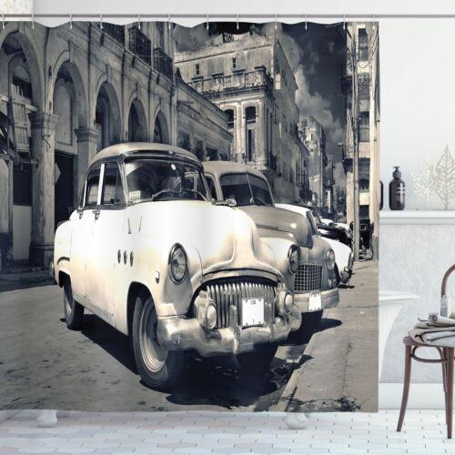 Details about  /Landscape Shower Curtain American Cars Havana Print for Bathroom