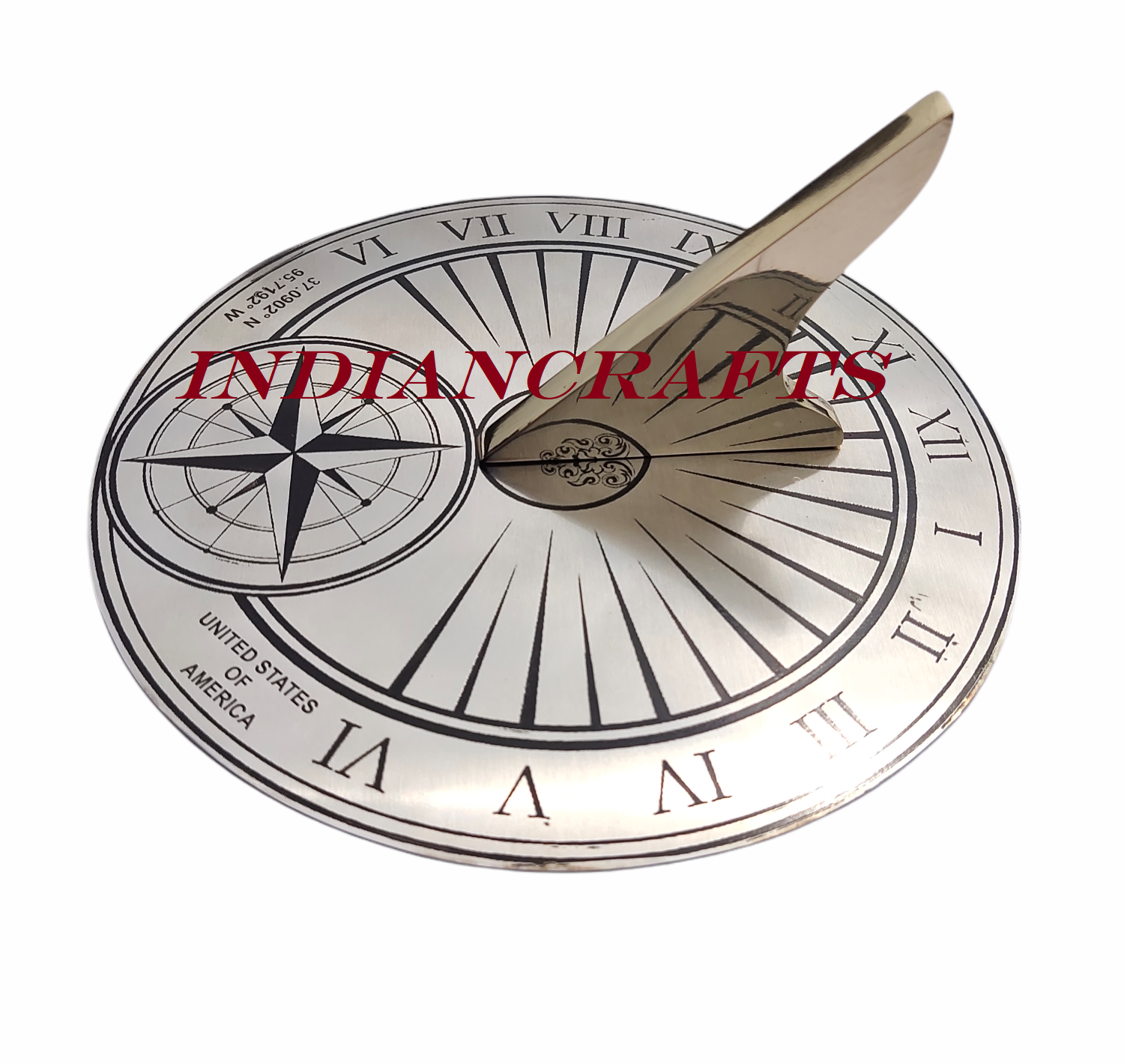 Solid Polished Brass & Stainless Steel 203mm Roman Number Sundial Birthday Gift