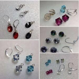 Details About Sterling Silver Authentic Swarovski Crystal Elements Interchangeable Earrings