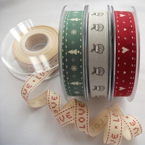Kisses /& Hearts Berisfords Festive Vintage Christmas Ribbons 15mm Per Metre