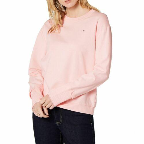 TOMMY HILFIGER Women/'s Ruched Hem French Terry Sweatshirt Top TEDO