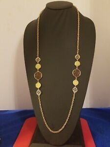 Vintage-Sarah-Coventry-36-034-Gold-Tone-Chain-Necklace-10-Medallions-amber-cream