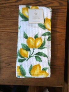 KITCHEN TOWELS  LEMONS WHITE YELLOW GREEN 100/% COTTON NWT 2 DEBORAH CONNOLLY